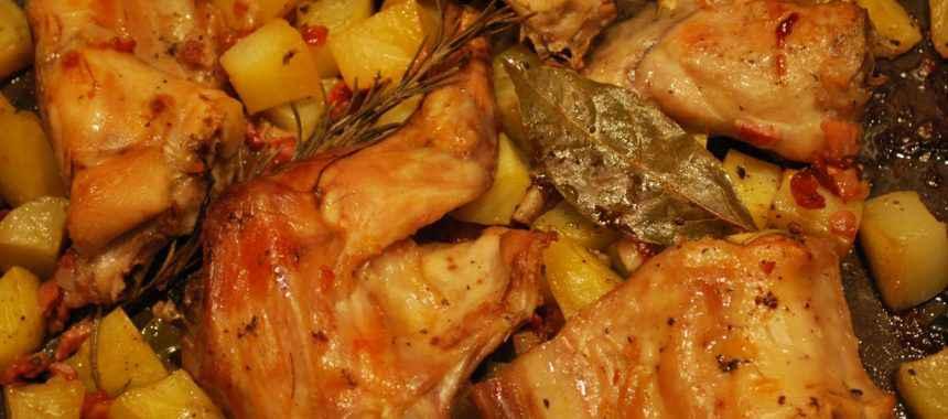 Coniglio al forno con patate